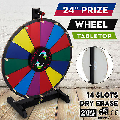 "24"" Tabletop Editable Dry Erase Color Prize Wheel 14 Slot Fortune Spinning Game"