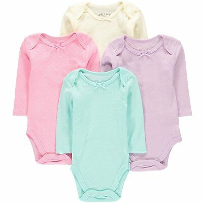 Wan-A-Beez 4 Pack Baby Girls and Boys Long Sleeve Bodysuits 12 Months, Pointell