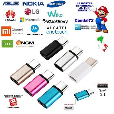 Adattatore Da Micro Usb A Tipo C Type-C Adapter Samsung Huawei Asus Nokia Lg Ngm