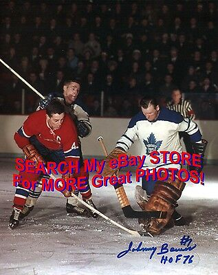 Johnny BOWER MAKES a SAVE on BELIVEAU w/ Tim HORTON Signed LEAFS Canadiens 8X10!
