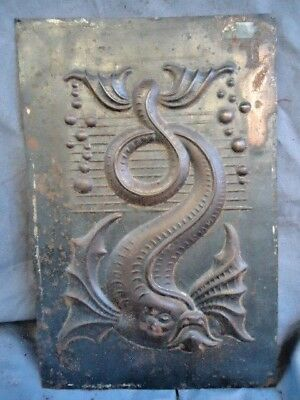19Th / 20Th Century Tin Plaque , Cast Mythical Fish