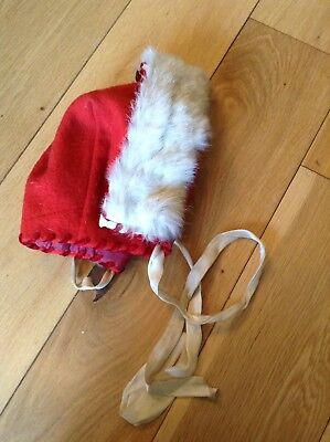 Vintage 1930/40s Lined Red Wool & Fur Trim Baby's Child's Hat Bonnet