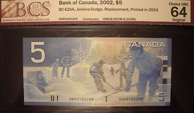 Canada 2004 BC-62bA 2004 $5 Replacement HNR9180209 - BCS ChUnc 64