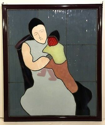 LUCY VAROUJEAN after MILTON AVERY Leaded Glass Window MOTHER & CHILD