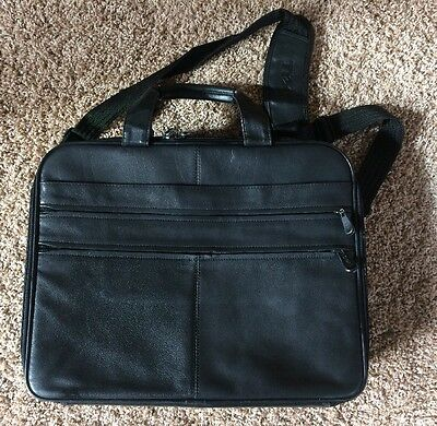 "Dell Leather Computer Messenger Bag Case Briefcase Up to 15"" Laptop Black"
