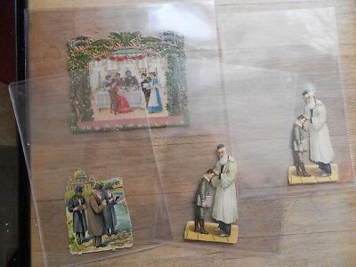 4 x Antique Judaica Victorian die-cut scraps inc' Family - Jewish, German