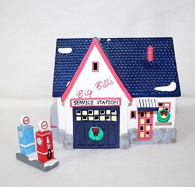 """Dept 56 Snow Village Collection """"SERVICE STATION"""" 2 pc Lighted House Retired IOB"""