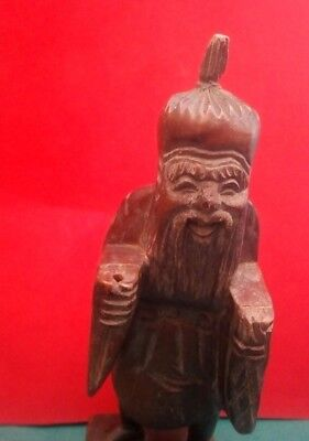 Unusual Antique Chinese Carved Wood  Figure