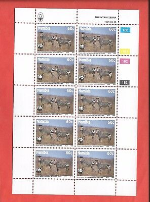 Namibia stamps. 1991 Mountain Zebra Endangered Species 60c sheet MNH (A837)