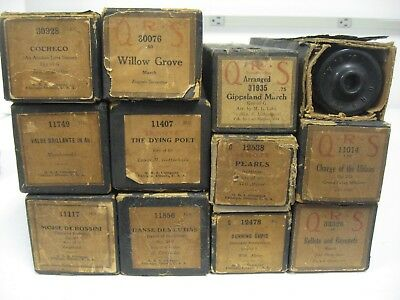Vintage Lot of Player Piano Music Rolls QRS Piano Rolls lot of 12 Old QRS ROLLS