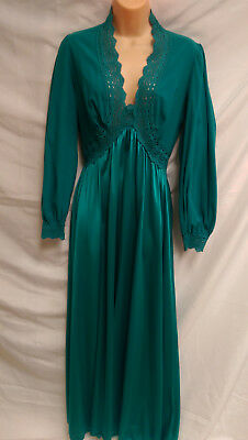 Vintage Teal Green Night Gown ~ Small / Medium Gown Long Sleeve Super Soft
