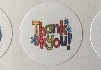 """Thank You with Flowers!!! ENVELOPE SEALS LABELS STICKERS 1"""" Round"""