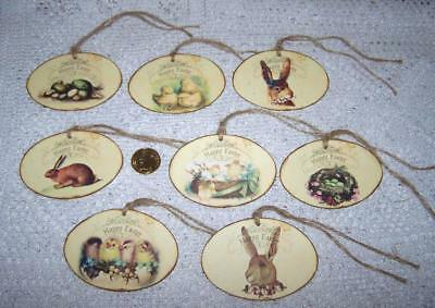Easter~Vintage~Bunnies~Chicks~Eggs~Linen Cardstock~Gift~Hang~Tags