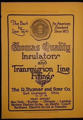 Vintage Ad 1925 THOMAS INSULATORS & TRANSMISSION LINE FITTINGS & 2 OTHER ADS #66