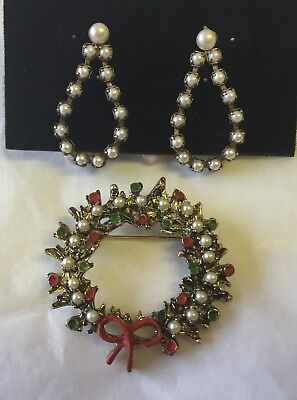 Vintage RED & GREEN ENAMEL PEARL WREATH BROOCH-Matching Pierced Earrings-Estate