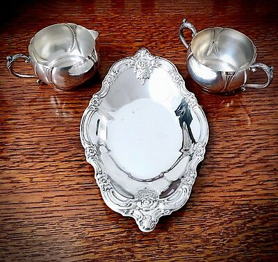 Antique/Vintage Silver On Copper Creamer and Sugar Bowl With Oneida SP Tray