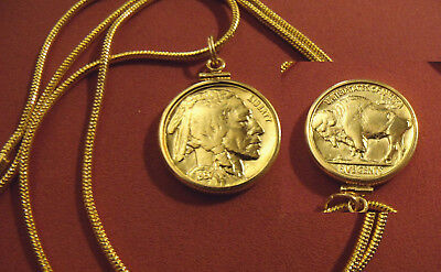 "Pre 1937  Gold Filled Buffalo Nickel Pendant on 18k 20"" Gold Filled Round Chain"
