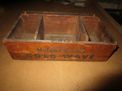 VINTAGE Antique HELENE CURTIS COLD WAVE WOOD Wooden BOX Made For Hair Salon