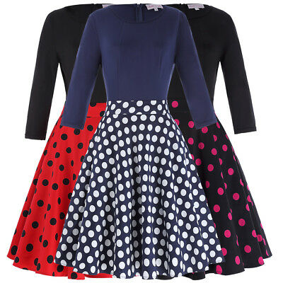 Women Office 1940s Dress Evening Cocktail Dots Vintage Party Swing A-line Polka