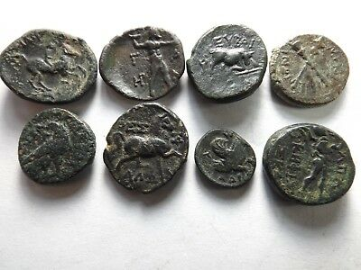 Lot of 8 Quality Ancient Greek Coins;Horses, Bull, Pegasus, Torches; 36.8 Grams!