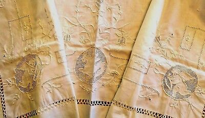 Antique Pillow Sham  Embroidered Layover Cover Vintage Cotton Angels Embroidery