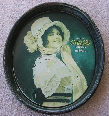 Vintage Coca-Cola Coke Oval Serving Tray~BETTY HAT GIRL~Floral Bonnet~Scarf