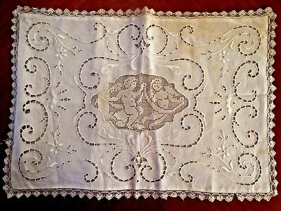 Antique Pillow Sham Case Embroidered Angels Cutwork Italian Filet Lace Cupids