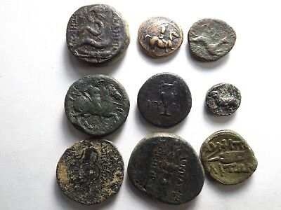 Lot of 9 Quality Ancient Greek Coins; Snake, Rider, Hound Dog...; 40.8 Grams!