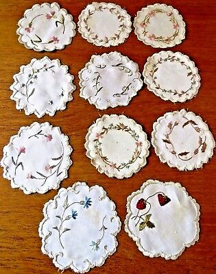 Antique Cocktail Coasters Embroidered Table Doily Mats Society Silk Embroidery