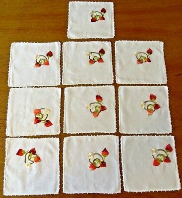 10 Antique Embroidered Cocktail Coasters Doily Mats Strawberries Society Silk