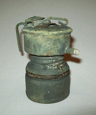 Antique vtg 1910s Guys Dropper Pat May 26-14 Carbide Miners Cap Lamp Brass Odd