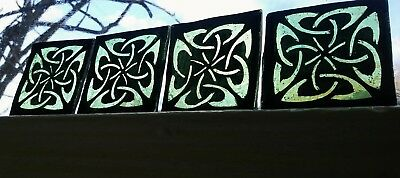 Stained Glass x 4 Traditional antique style kiln fired hand painted green pieces