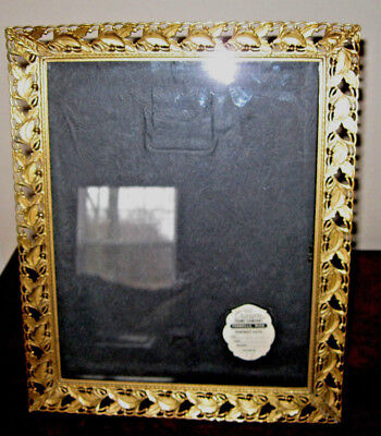 VTG gold brass metal embossed filigree photo picture frame 8x10 ornate Crown Co.