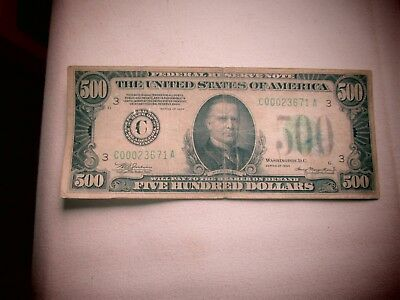 1934 $500 FIVE HUNDRED DOLLAR BILL Low Serial Number Philadelphia US Currency