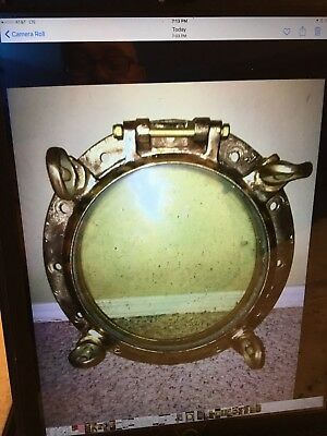 Vintage Brass four dog Porthole From WWII Tugboat Tutahaco 16 1/2 Inches-Awesome
