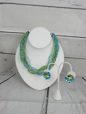 Avon Twisted Multi Strand Glass Bead Necklace Clip On Earrings Turquoise Green