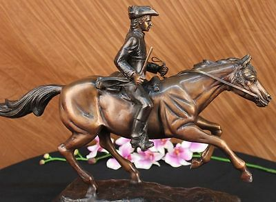 100% Solid Bronze Statue Soldier On A Horse Venetian Monumento Collector Décor