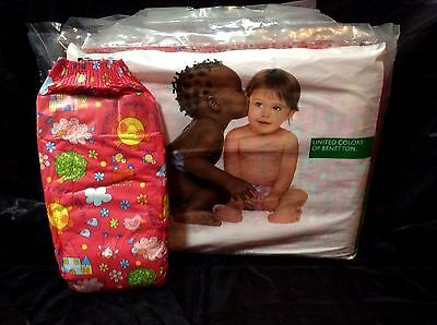 Vintage United Colors of Benetton Brand Plastic Backed Baby Diaper Size 6