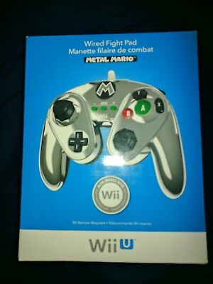 PDP Link Wired Fight Pad for Wii U - Metal Mario