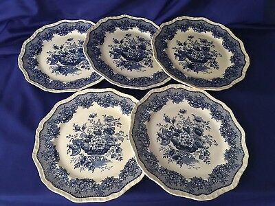 5 set MASON'S PATENT IRONSTONE ASCOT DINNER PLATE WITH BLUE FLORAL