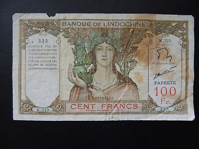 Tahiti (9325), 1939/65, 100 Francs, P14d - Stain + small piece missing
