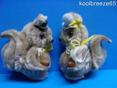 Vintage Chenille Squirrel Couple Magnets Acorns Hats Bride Groom ? Pipecleaner