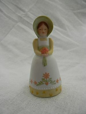 Vintage Avon 1985 Porcelain Collectible Bell Girl holding flower bouquet cute