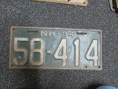 1934 New Hampshire NH License Plate 58-414