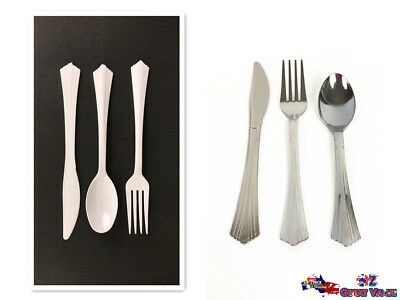 Disposable Plastic Cutlery White Silver Spoons Forks Knives Party Server Bulk