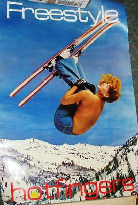 POSTER:ADVERTISING:  80's  Hotfingers Glove  SEXY FEMALE on ski's  - FREE SHIP