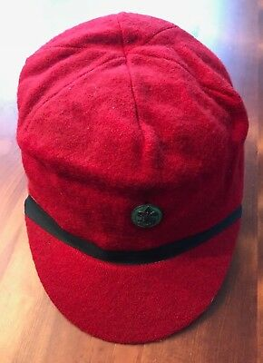 Vintage Red Wool Hat with Brim & Boy Scout / BSA Pin -Early 1960's- Size 7- VGC!