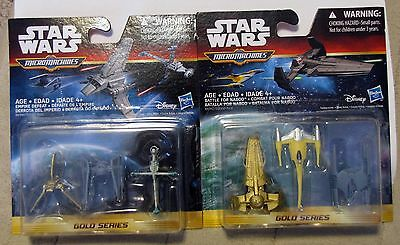 Lot (2) Star Wars Micro Machines Gold Series Empire Defeat & Battle for Naboo