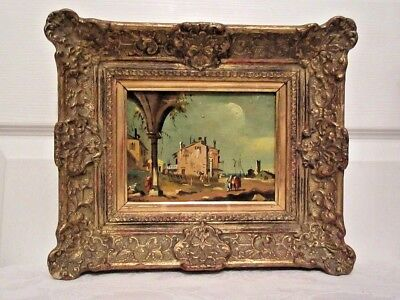 18Th To 19Th Century Mediterranean Oil Painting With Original Ornate Gilt Frame