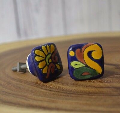 SET OF 2 White Porcelain W Hand Painted Ceramic Drawer Cabinet Pull Knobs